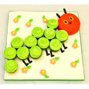 The very hungry caterpillar cake (caterpillar head and 14 cupcakes)